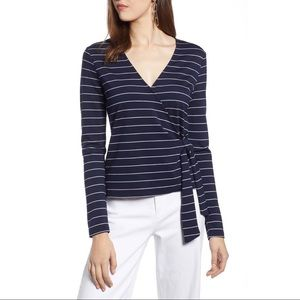 Halogen Striped Wrap Top